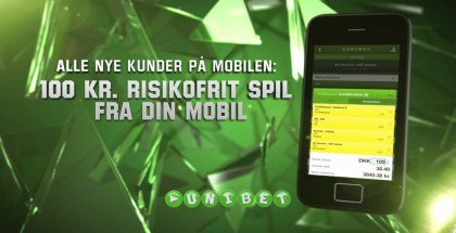 100 kr. risikofrit free bet til nye Unibet mobilkunder