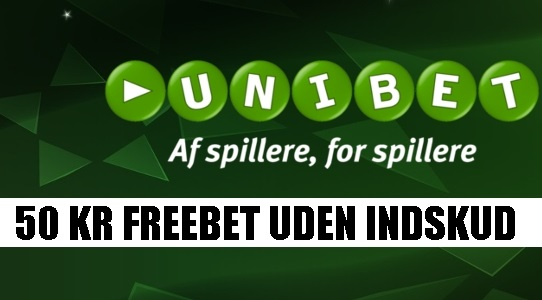 Unibet 50 kr. gratis free bet uden krav om indbetaling