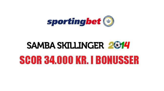 Samba Skillinger på Sportingbet – Scor 34.000 kr. i bonusser